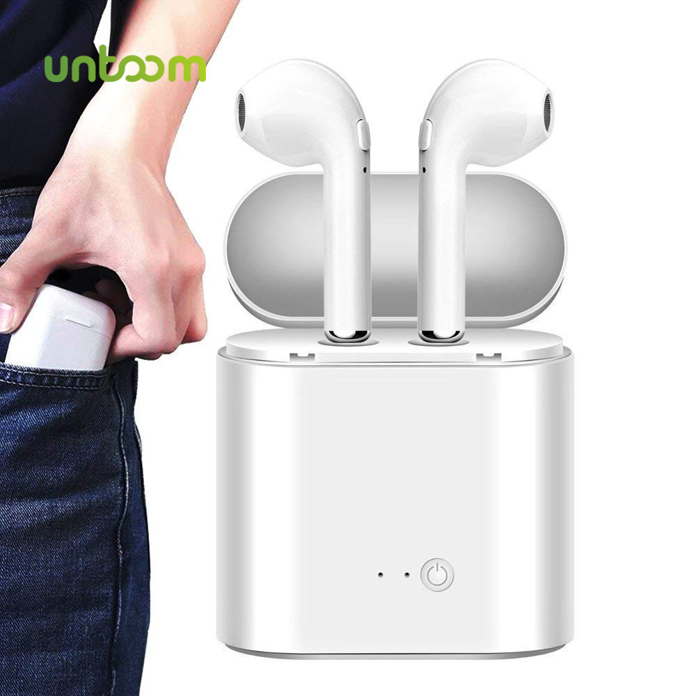 Untoom Mini Wireless Bluetooth Earphone Sport Wireless Earbuds with Charging Box Mic Running In-Ear Headset for All Smart Phone image