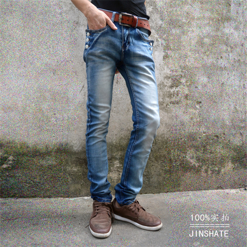 2017 New Fashion Men Jeans Denim Pants Slim Fit Pencil Pants Button Skinny Punk Brief Male Trousers Vintage Korean new men flower print skinny jeans fashion denim pencil trousers 0931