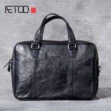 AETOO Retro casual leather handbag, male head cowhide computer bag, handmade business briefcase цена