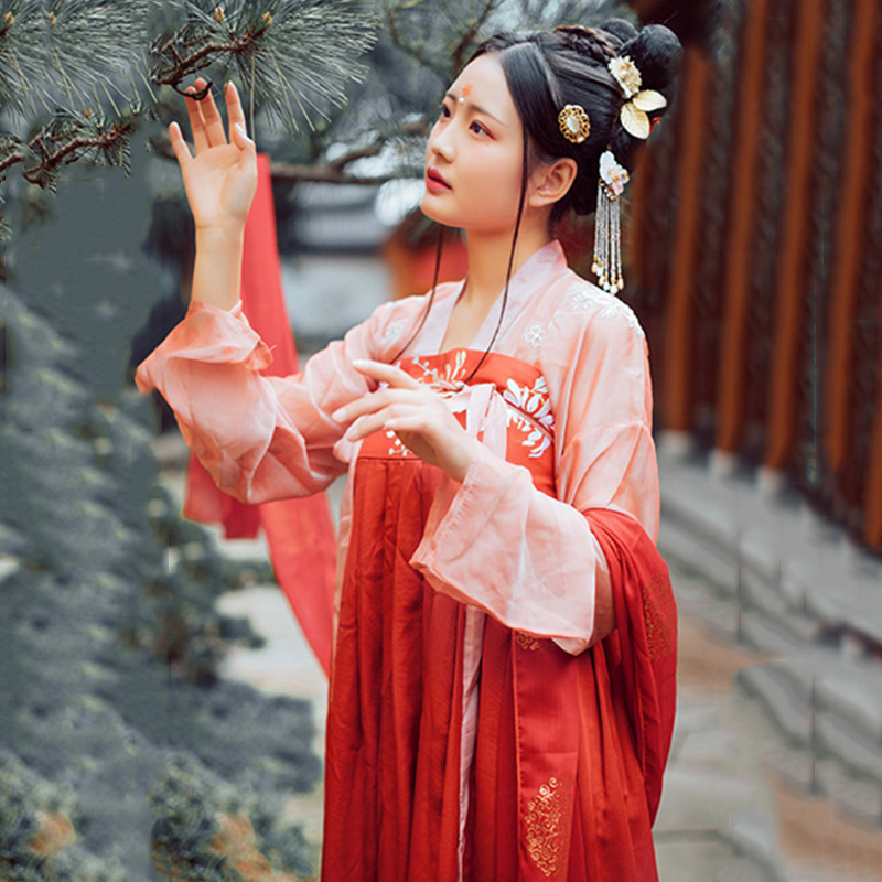 Chinese Traditional Dance Costume Women Red Embroidery Hanfu Folk Performance Clothing Singers Oriental Festival Outfit DC1803