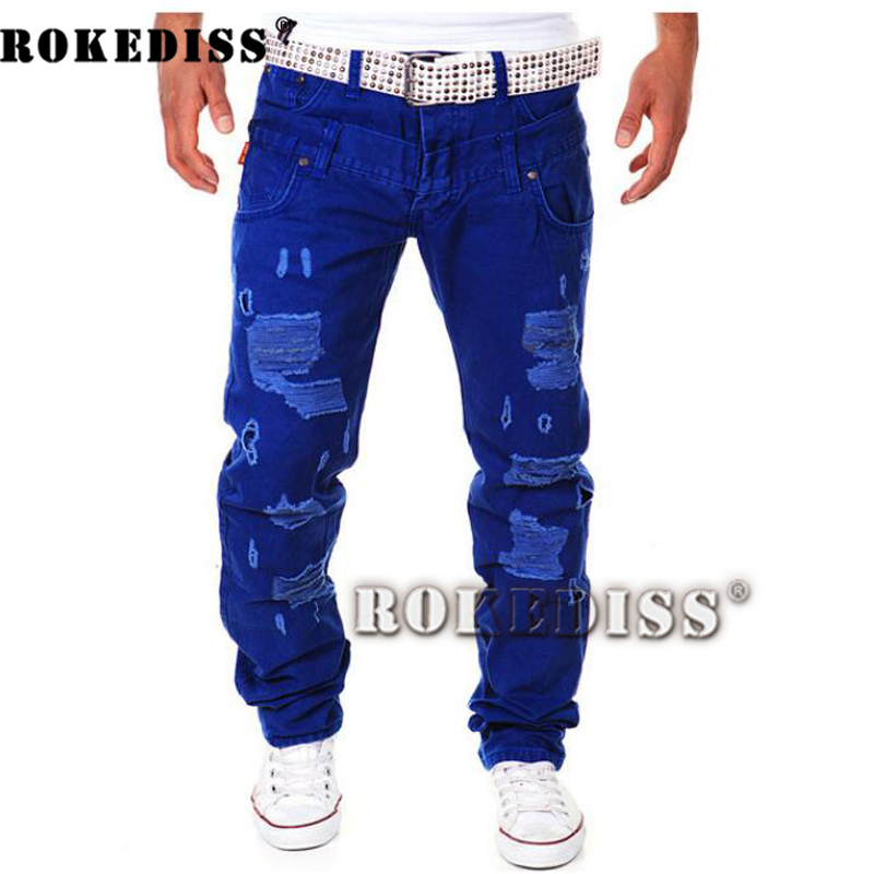 Real stuff italy hip hop brand ripped jeans denim Men Jeans Male famous brand men's jeans straight trousers TB006