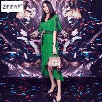 Для женщин зеленое платье Цветочные аппликации v образным вырезом Нерегулярные богемное платье 2018 Для женщин с рукавами «летучая мышь» лет