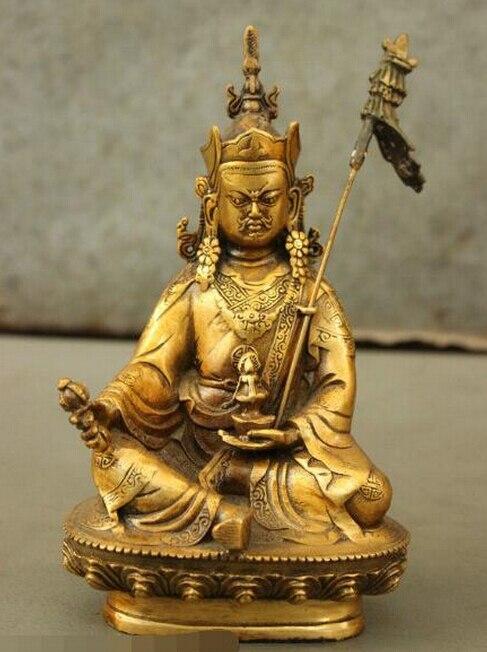 WBY 827+++++ Tibet Vajrayana Bronze Gilt GuRu Rinpoche Padmasambhava Padmakara Buddha Statue statue