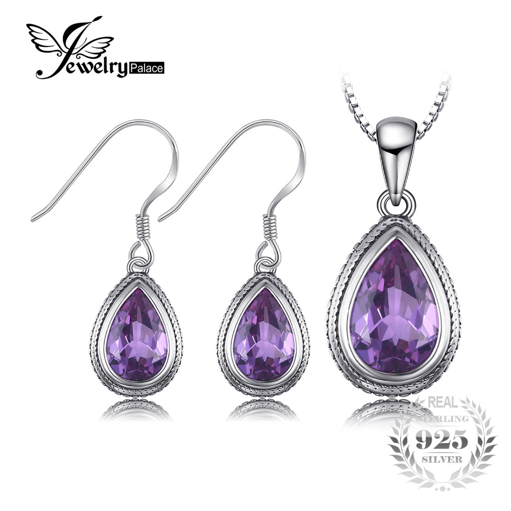 JewelryPalace Vintage 25ct Pear Created Alexandrite Sapphire Dangle Earrings Pendant Necklace 925 Sterling Silver Jewelry Sets jewelrypalace new 1 3ct pear created alexandrite sapphire water drop earrings 925 sterling silver fashion fine jewelry for women