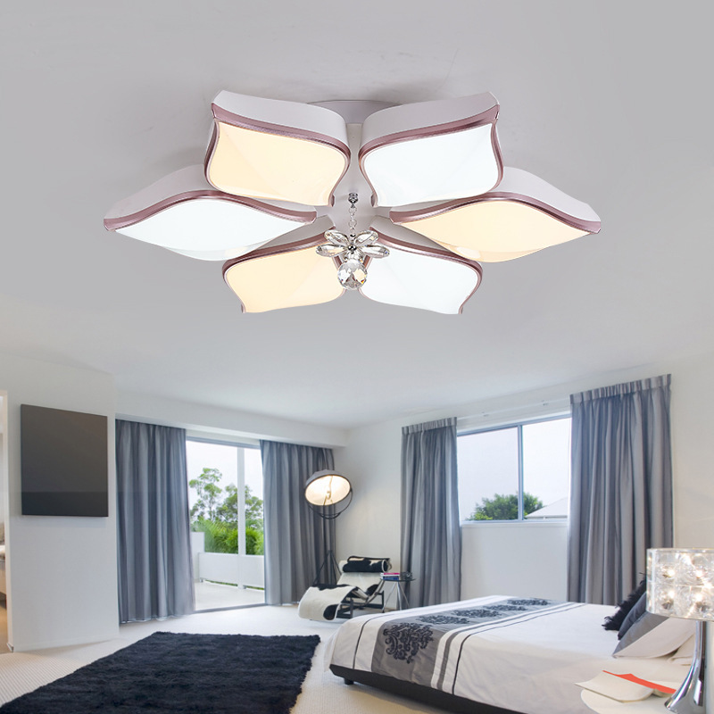 Led Ceiling Lamp Living Room Round Crystal Lamp Petal Shape Ceiling Fan Light Simple Modern Bedroom Lamp Led Panel Light Ceiling Lights