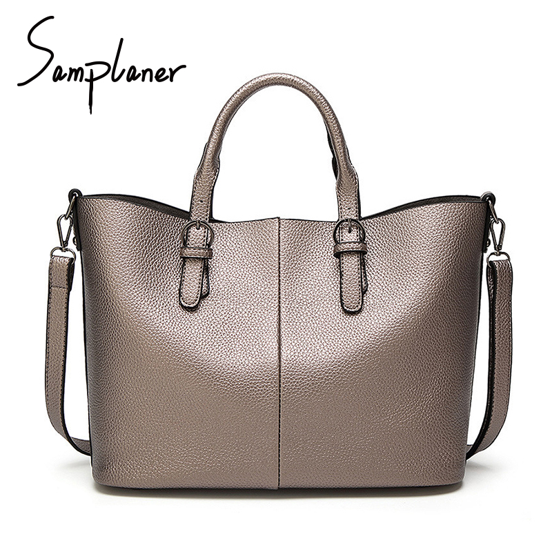 Samplaner Fashion Bucket Bag Women High Quality Leather Handbag Luxury Brand Ladies Top-handle Bags Female Big Totes Bolso Mujer