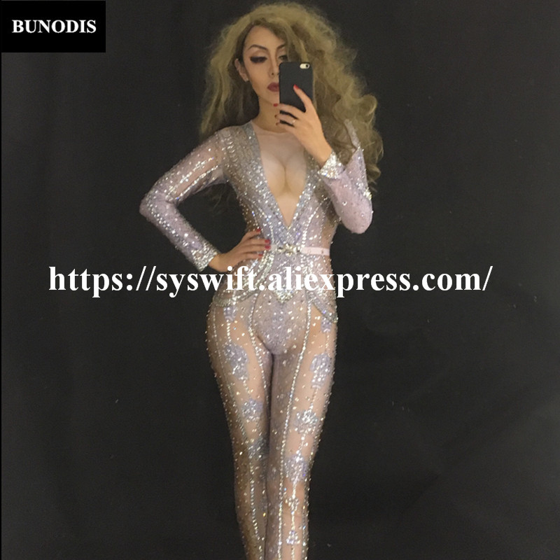 BU137 Glass Diamonds Women Jumpsuit Full 1000 Sparkling Crystals Party Nightclub Bodysuit Singer Dancer Stage Wear Bling Costume