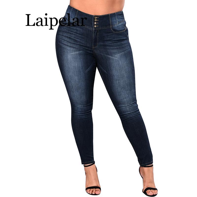 Laipelar Women 5XL Plus Size Jeans Casual Push Up Denim Jeans Stretch High Waist Skinny Pants Slim Fit Bodycon Trousers