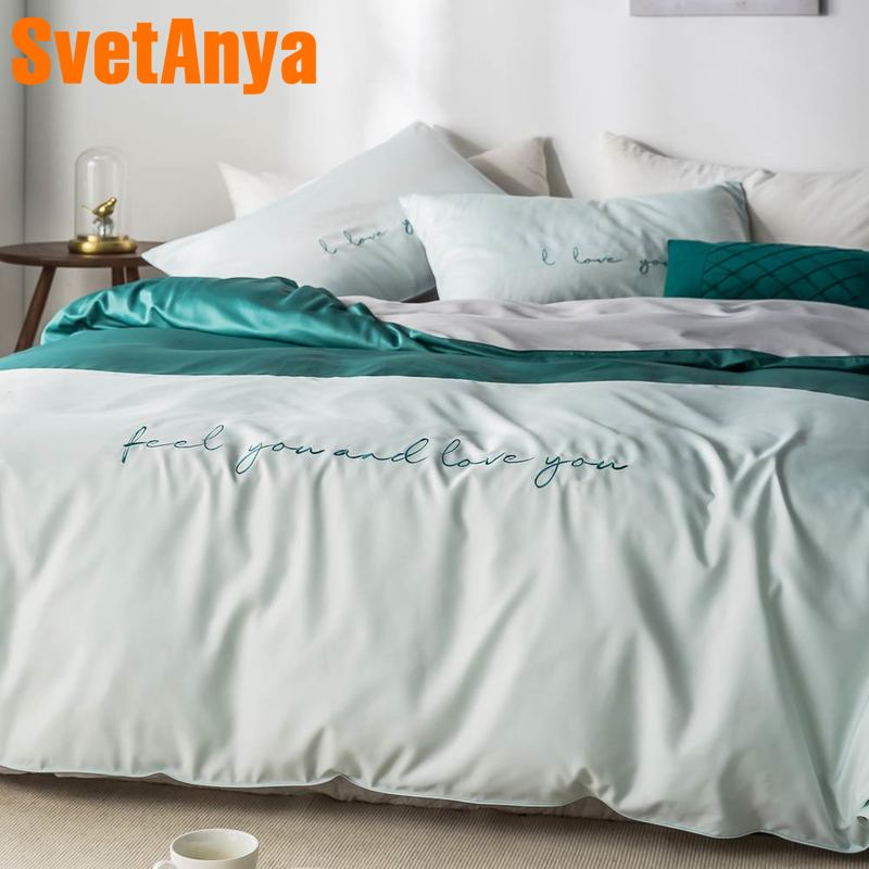 Svetanya silky Bedding Set embroidery Linens king queen double size-in Bedding Sets from Home & Garden