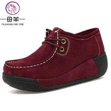 Muyang/китайский бренд Модная обувь на высоком каблуке женские натуральная кожа один танкетке женская обувь на платформе качели повседневные женские туфли-лодочки на танкетке