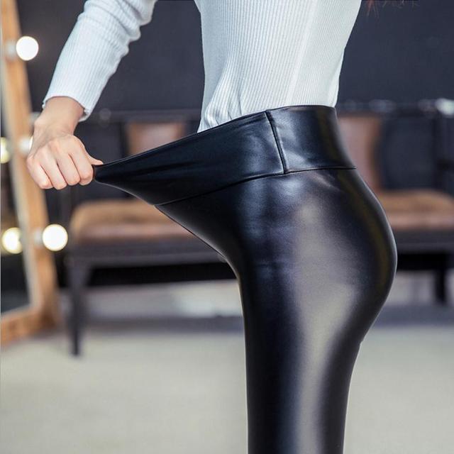 2017 Outono e inverno o estilo quente de cintura alta estiramento calças PU calças de couro Moagem e cabelos finos pés quentes