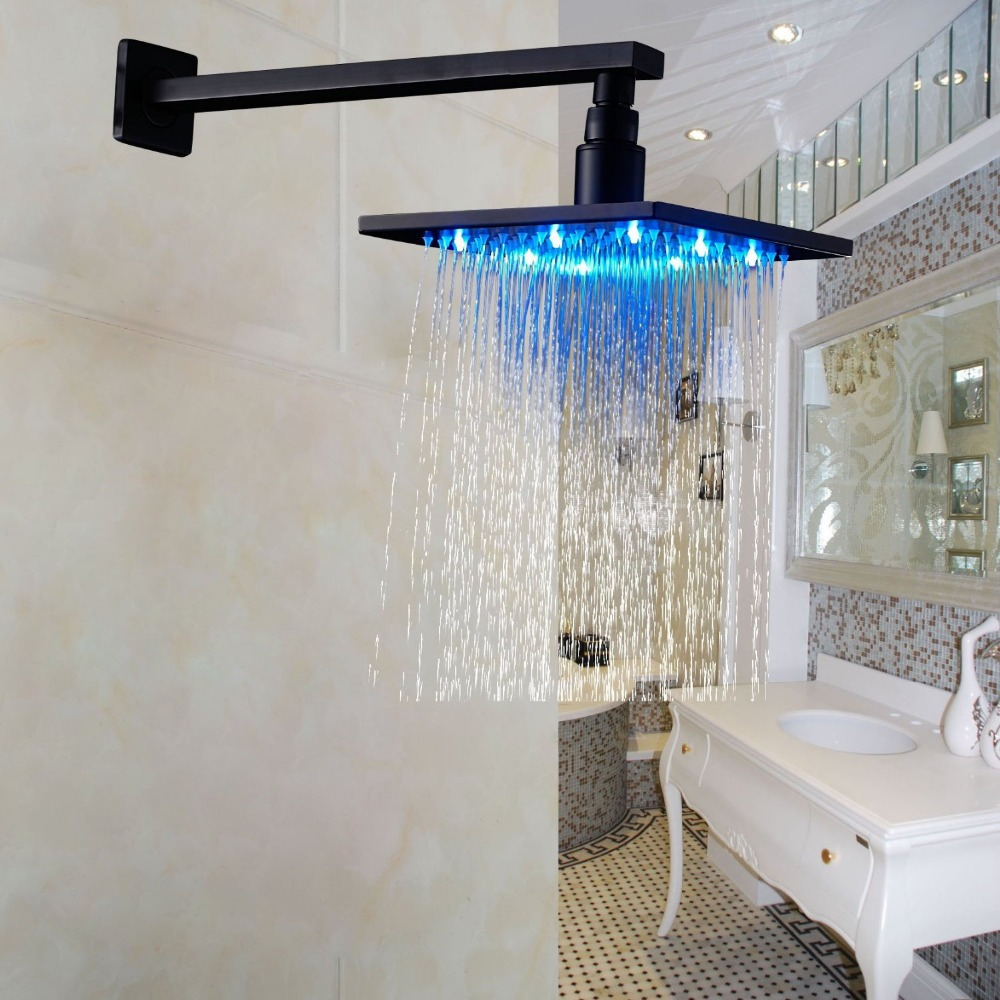 LED Light 8 Square Rainfall Shower Head with Wall Mounted Shower Arm Oil Rubbed Bronze luxury led color changing 12 square rainfall shower head with brass wall mount shower arm oil rubbed bronze