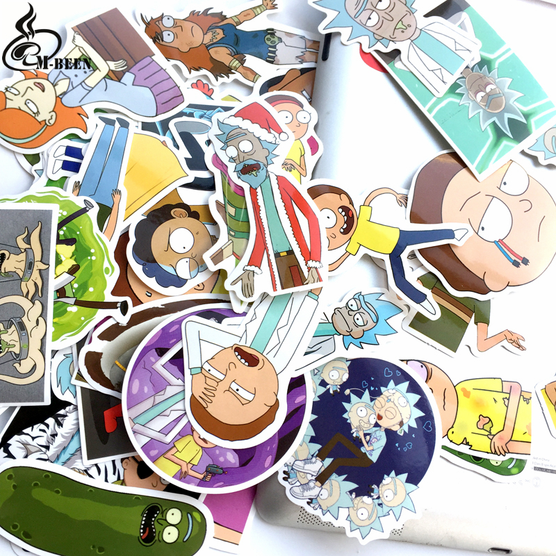 Купить с кэшбэком TD ZW 2018 69Pcs/lot American Drama Rick and Morty Stickers Decal For Snowboard Luggage Car Fridge Car- Styling Laptop Stickers