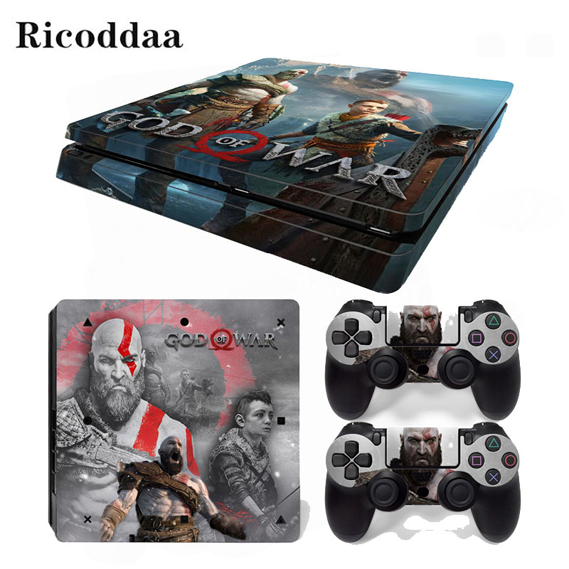 God of War Removable Vinyl Skin For PS4 Slim+Controller Protective Decals For Sony Playstation 4 Slim For Dualshock 4 AccessoryGod of War Removable Vinyl Skin For PS4 Slim+Controller Protective Decals For Sony Playstation 4 Slim For Dualshock 4 Accessory
