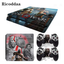 God of War Removable Vinyl Skin For PS4 Slim+Controller Protective Decals For Sony Playstation 4 Slim For Dualshock 4 Accessory(China)