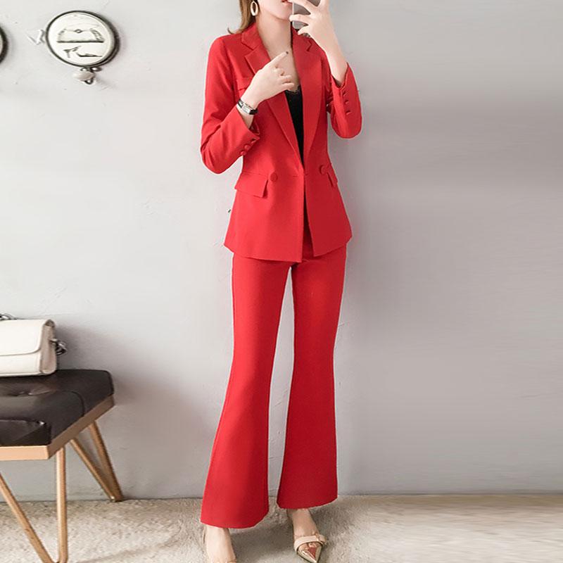 Kadın Giyim'ten Kadın Setleri'de Kırmızı RoosaRosee 2019 Moda kadın Giyim Twinsets Ofis Bayan Kırmızı Turn down Blazer Tops + Flare Pantolon Iki parça Set OL Takım Elbise'da  Grup 3
