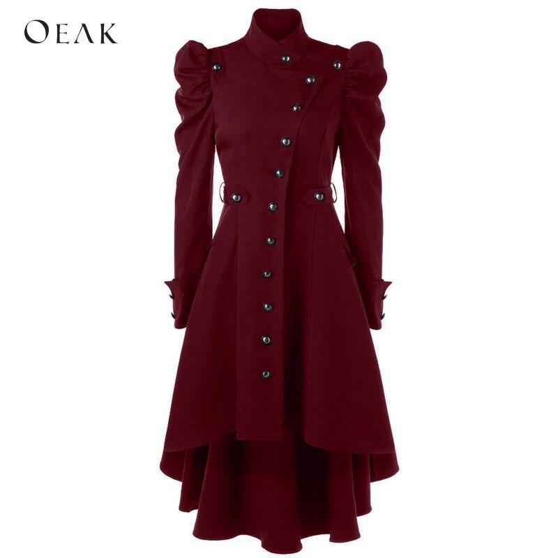 OEAK 2019 Women Puff Shoulder Button Up Dip Hem Trench Coat Vintage Outwear Female Fashion Gothic Coat Plus Size Windbreaker