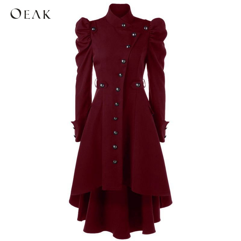 OEAK 2019 Women Puff Shoulder Button Up Dip Hem   Trench   Coat Vintage Outwear Female Fashion Gothic Coat Plus Size Windbreaker