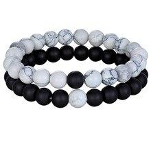 Горячая Пара дистанционный браслет натуральный камень белый черный Йога бисерные браслеты для мужчин женщин друг подарок Шарм Strand ювелирные изделия