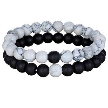 Hot Couples Distance Bracelet Natural Stone White Black Yoga Beaded Bracelets for Men Women Friend Gift Charm Strand Jewelry 15 5 strand natural white