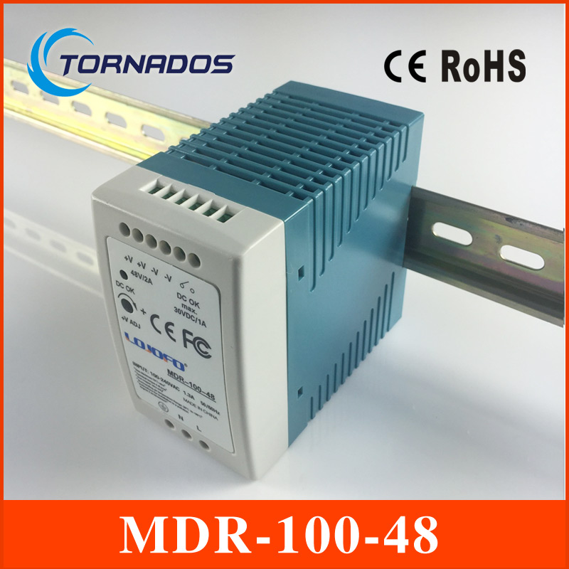 MDR-100-48 Industrial DIN rail Mini switching power supply for LED driver 48v 2A 96W AC85-264V to DC 48V ac-dc driver 90w led driver dc40v 2 7a high power led driver for flood light street light ip65 constant current drive power supply