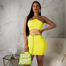 1dba25585e2f5 En iyi Moda Floresan Neon Yeşil 2 Parça Için yaz kıyafetleri Kadın Set  Seksi Parti Elbise