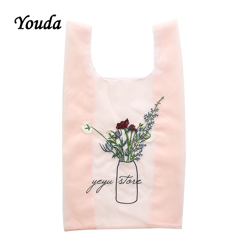 Youda The New Lightweight Mesh Bags Translucent Rose Embroidery Hand-held Shopping BagYouda The New Lightweight Mesh Bags Translucent Rose Embroidery Hand-held Shopping Bag