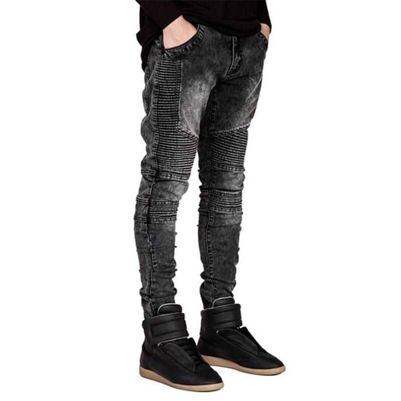 Men Jeans Runway Slim Racer Biker Jeans Fashion Hiphop Skinny Jeans For Men
