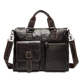 Genuine Leather Retro  Male bag Multifunction Cowhide Men handbag Leisure Business briefcase Shoulder computer Messenger bag Briefcases