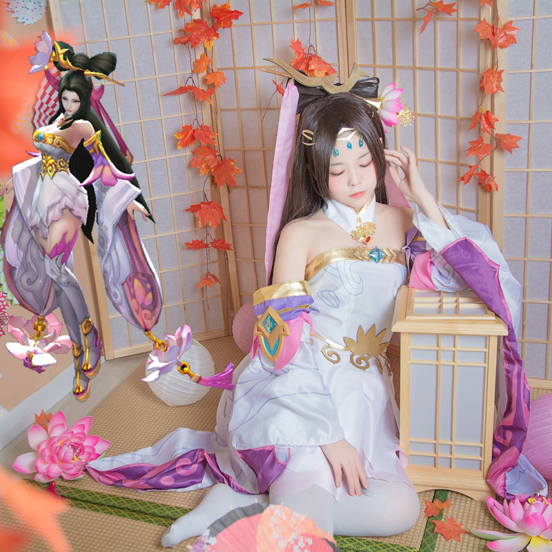 Glory of King Diaochan Beautiful Purple Pink Dress Fairy COSplay Costume  Hanfu Cosplay Costume  Beautiful Dress