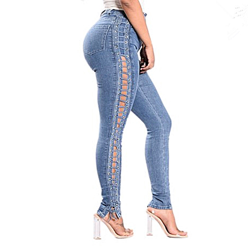 2019 New Fashion Lace Up Jeans Woman Straight Eyelet Denim Jeans For Women Pencil Pants