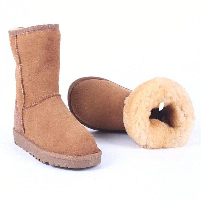 Las mujeres de Invierno Botas de Nieve Botas Cortas de Invierno, Zapatos Calientes de la Felpa Botas Femeninas Botines de Cuero Genuino Más El Tamaño 40-45