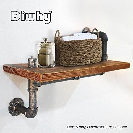 Wall Mounted Industrial Rustic Urban Iron Pipe Wall Shelf Wooden Board Shelving Home Restaurant kitchen Bar Shop Decor