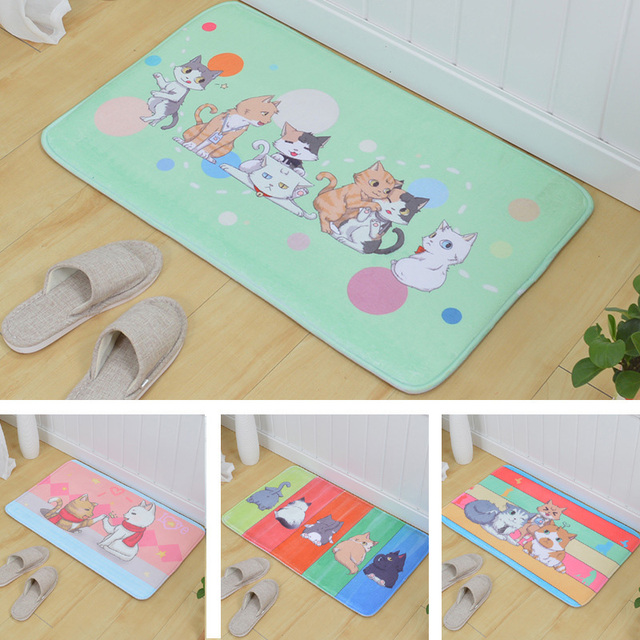 2017 New Cartoon Floor Carpets Bathroom Kitchen Living Room Mat Print Cute Cat Rug Absorbent Non