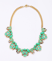 Pink Green Classic Flower Necklace Collares 2017 Fashion Online Shopping India Cluster Bib Necklace For Women