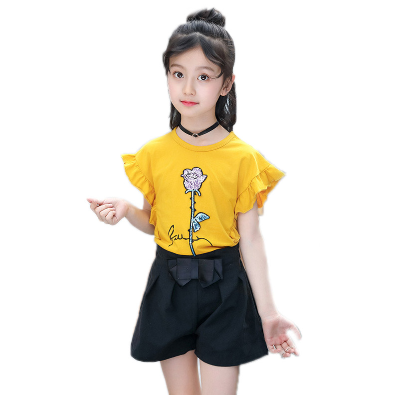 children clothing 2018 new summer girls outfits top short sleeve sequined floral tshirt+shorts 2piece sets girl tracksuits 4-13T wide sleeve color block floral top