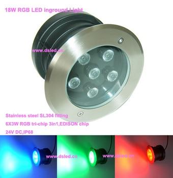 Ip68, De Alta Potência 18 W RGB LED Spotlight, Rgb LED Luz Ao Ar Livre, Ds-11s-17-18w-rgb, 6 X 3 W RGB 3in1, 24 V De