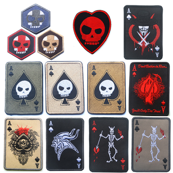 Embroidery Patch Death Card Rectangular Skull Morale Patch Tactical Appliques Emblem Military Biker Embroidered Patches emblem