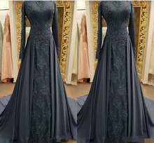 Modest Gray Muslim Evening Dresses robe de soiree Long sleeves High Neck Prom Dress Applique Lace Mermaid dress 2019