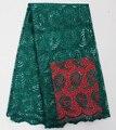 2017 Lentejuelas Bordado Africano Guipur tela de encaje Francés de color Verde de Alta calidad tela de encaje del cordón de malla de tul para la boda
