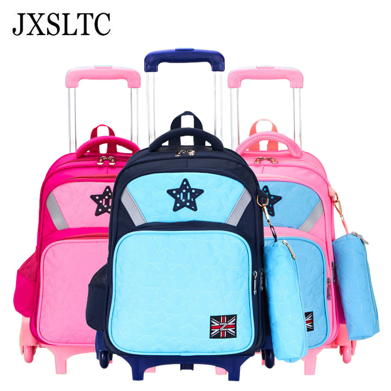 Removable Children School Bags Boys Girls 6 Wheels Bags Kids Cute Cartoon Trolley Backpacks Luggage Book Bag Wheeled Backpack ceramic nail art tools milling cutter for manicure pedicure nail drill apparatus rotary manicure device set of milling cutters