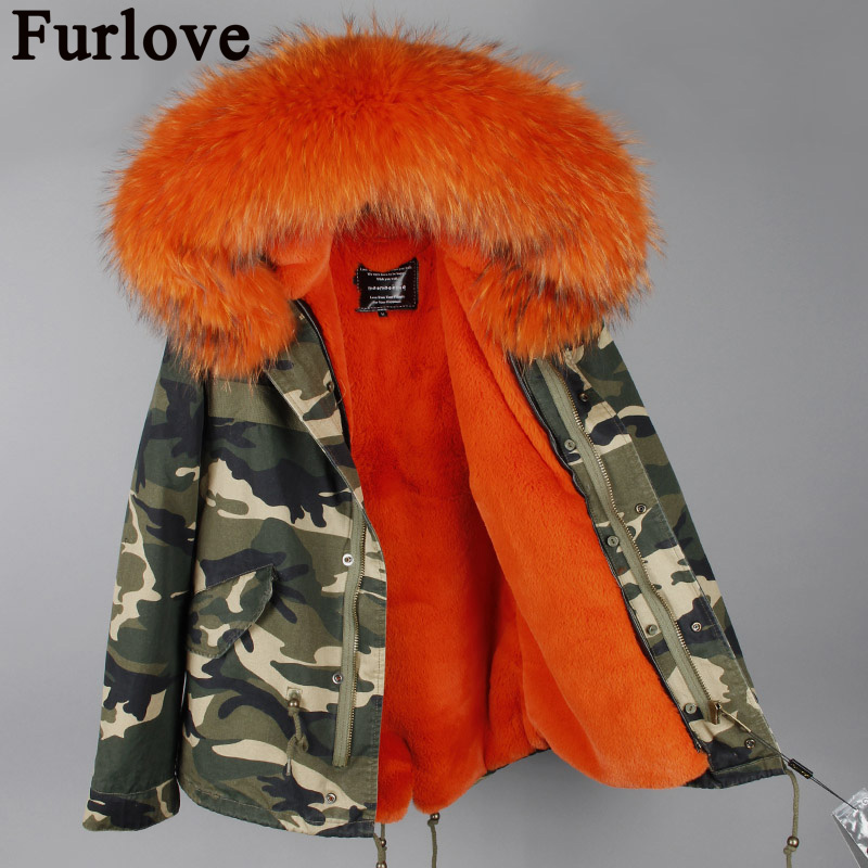 Furlove Women Winter Camo Parkas Large Raccoon Fur Collar Hooded Coat Outwear 2 in 1 Detachable Lining Winter Jacket Brand Style 2017 winter new clothes to overcome the coat of women in the long reed rabbit hair fur fur coat fox raccoon fur collar