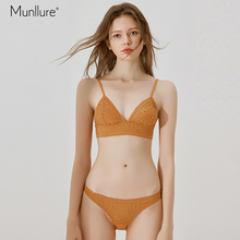 Munllure  bra girl heart underwear panties suit female thin section triangle cup unserwear women flower lace set