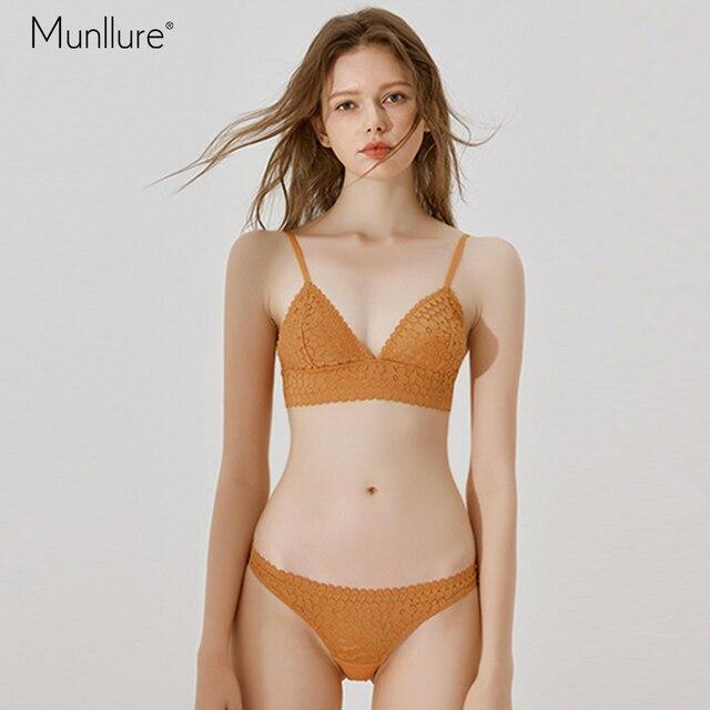 c77bae4acc Munllure bra girl heart underwear panties suit female thin section triangle  cup unserwear women cup flower lace bra set