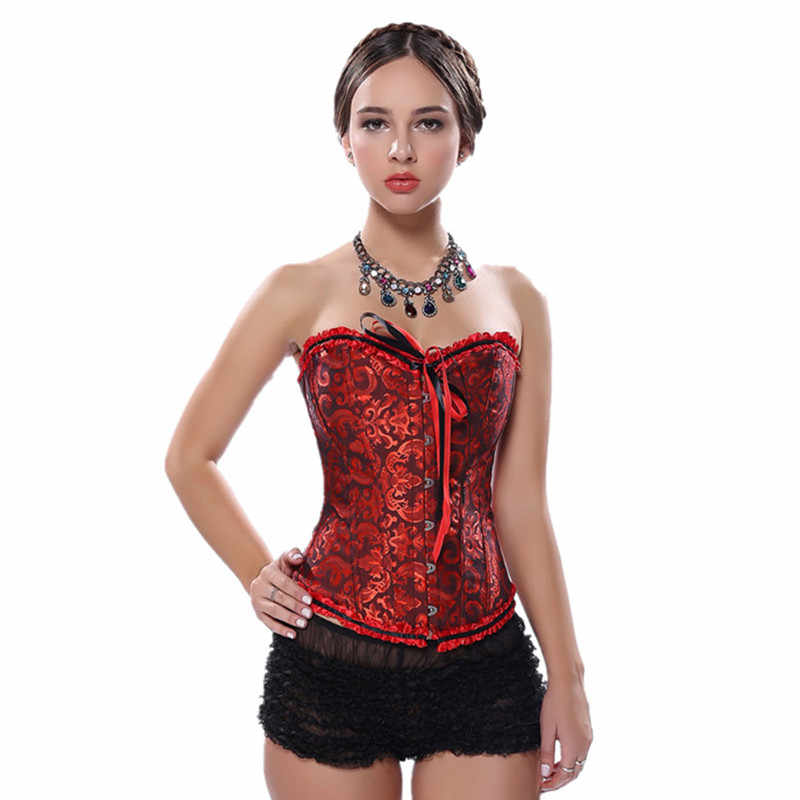 a964e59c4b3 ... Steampunk Gothic Corsets Sexy Women s Plus Size Corsets and Bustiers  Overbust Gothic Strapless Brocade Corselet Clothing ...