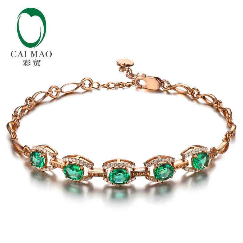 CaiMao 1.63 ct émeraude naturelle 18KT/750 or Rose 0.32 ct taille ronde Bracelet en diamant Bracelet bijoux en pierres précieuses