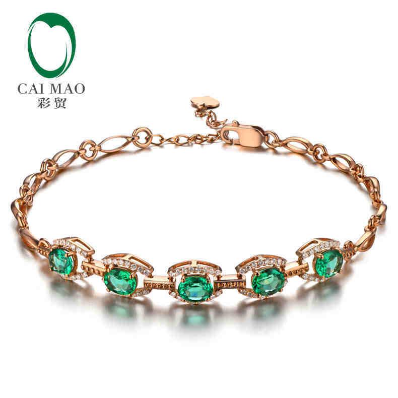 CaiMao 1,63 ct натуральный изумруд 18KT/750 Розовое Золото 0,32 ct круглая огранка браслет с подвеской и бриллиантом ювелирные изделия драгоценный каме...