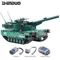 ZhenDuo игрушки C61001 RC удаленного Управление блока танк с мотором строительные блоки кирпичи legoingly военный война M1A2 DIY просветить игрушка