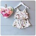 2016 летняя девочка комплект одежды перо печать + шорты костюм малышей детей девочек костюмы