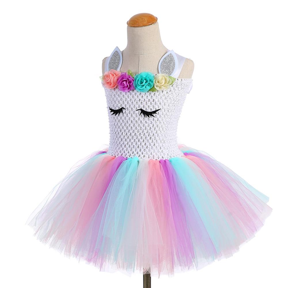 Cute Girl Unicorn Tutu Dress for Little Kid Flower Pony Birthday Party Knee Length Dress Outfit Pastel Unicorn Halloween Costume (2)